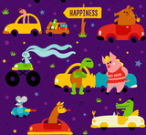 Cute funny animals llama, crocodile, bookworm, rabbit, mouse, turtle and pig driving colorful cars to the happiness on violet background