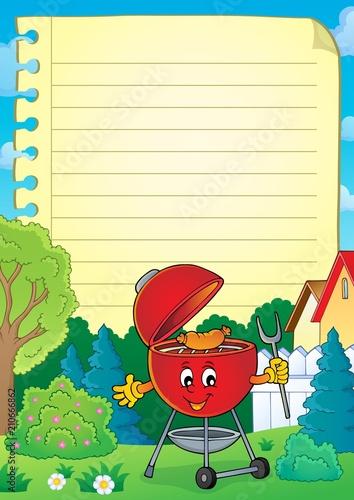 Fotobehang Voor kinderen Lined paper with barbeque theme 3