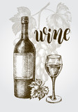 Background with a bunch of grapes, bottle, glass. Wine concept. Ink hand drawn Vector illustration with brush calligraphy style lettering. design element for a wine shop. - 210669045