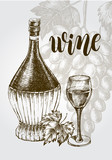 Background with a bunch of grapes, bottle of Chianti, glass. Wine concept. Ink hand drawn Vector illustration with brush calligraphy style lettering. design element for a wine shop. - 210669094