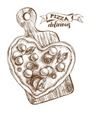 Heart-shaped Pizza with mozzarella,  basil and olives on a wooden cutting board. Italian cuisine. Ink hand drawn Vector illustration. Top view. Food element for menu design. - 210669265