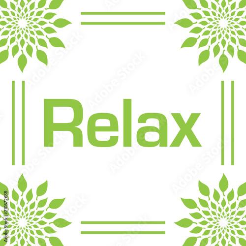 Relax Green Leaves Circular Frame  - 210672688