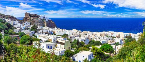 Plexiglas Freesurf beautiful Greek islands - Nisyros (Dodecanese) panorama of Mandraki village with monastery