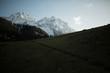 Dark meadow and snow Himalaya mountains