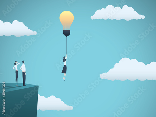 Creative idea in business vector concept with businesswoman flying off with ligthbulb. Symbol of creativity, inspiration, imagination, innovation.