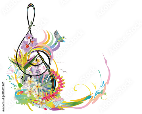 Fotobehang Muziek Abstract treble clef decorated with summer and spring flowers, palm leaves, notes, birds. Hand drawn musical vector illustration.