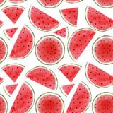 Watercolor watermelon seamless pattern - 210692830