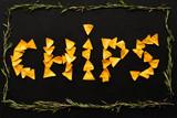 word chips nacho tortillas frame black background - 210694620