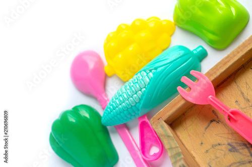 Toy colorful plastic blocks isolated on white background © Saktanong