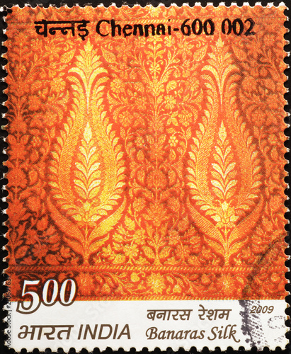 Indian Silk Fabric On Postage Stamp