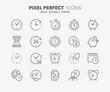 time clocks thin line icons - 210702235