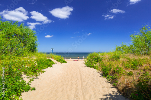 Entrance to the beach of Baltic Sea in Sopot at summer time, Poland