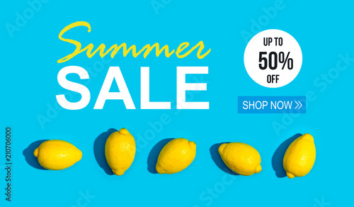 Summer Sale with series of lemons on a blue background - 210706000