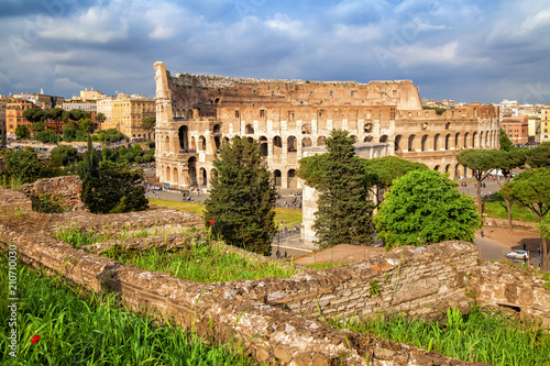 Aerial scenic view of Colosseum in Rome, Italy. Colosseum is one of the main attractions of Rome. Rome architecture and landmark.