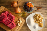 Moroccan beef, prune and almond tagine ingredients - 210711271
