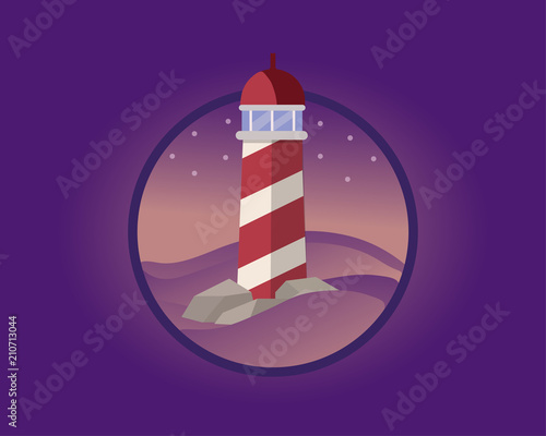 Foto Spatwand Violet Lighthouse in the night