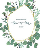 Floral geometrical card with eucalyptus  and fern leaves. Greenery frame. Rustic style. For wedding, birthday, party, save the date. Vector illustration. Watercolor style - 210718289