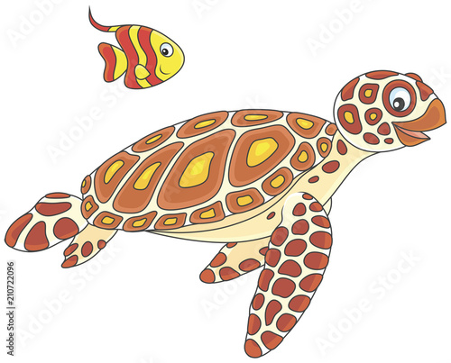 Fototapeta Funny sea loggerhead turtle and a small striped butterfly fish swimming together, vector illustration in a cartoon style