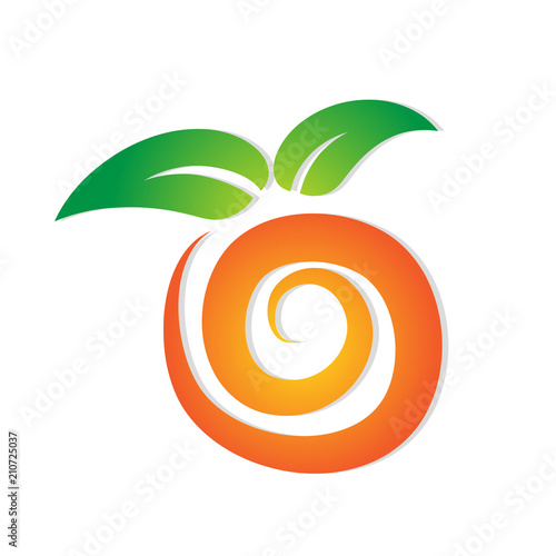 sweet abstract orange logo with green leaf for your design, stock vector illustration - 210725037