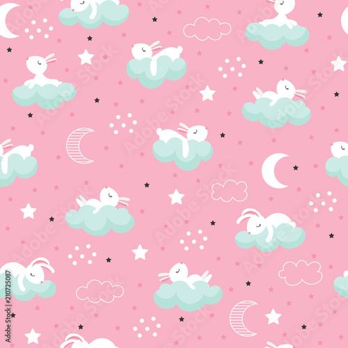 Seamless pattern with cartoon sleeping hares - 210725087
