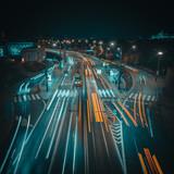 Streets of Warsaw, Poland at night