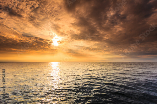Beautiful sunset on the ocean sea