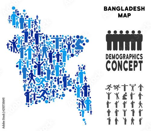 Vector potion Bangladesh map. Demography composition of ... on