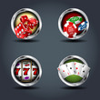 Casino four steely rounded badge icons. For Ui/Game.