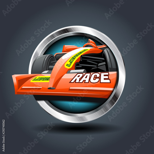 Aluminium F1 Race Car, steely rounded badge icon. For Ui/Game.