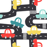 Cute seamless pattern with retro cars and road. Vector hand drawn illustration. - 210741480
