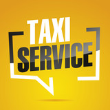 Taxi service in brackets speech black yellow banner icon - 210743691
