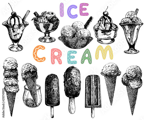 Set of hand drawn sketch style ice cream isolated on white background. Vector illustration.