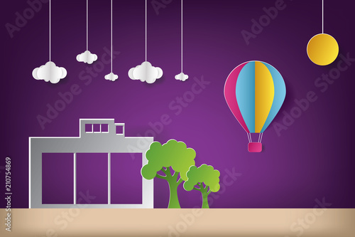 Foto Spatwand Violet House vector illustration with cloud origami and hot balloon air. Paper art and craft style.