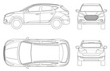 Fototapety Car vector template on white background. Compact crossover, CUV, 5-door station wagon on outline. Template vector isolated. View front, rear, side, top.