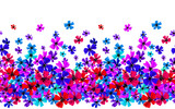 Vector seamless border with hand drawing flowers, multicolor bright artistic botanical illustration, isolated floral elements, hand drawn repeatable illustration. - 210758626
