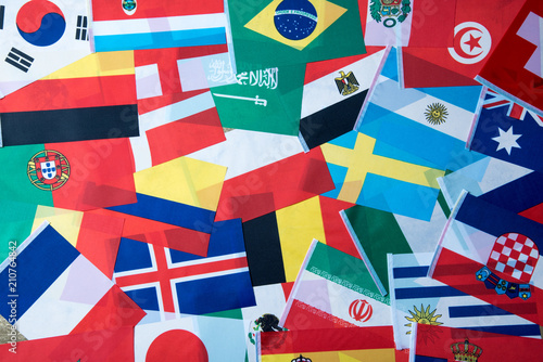 Foto Murales International world flag , Football world cup in Russia 2018