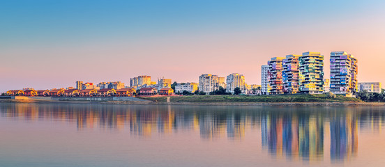 Constanta skyline panorama at sunset
