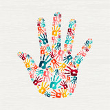 Human hand print concept for social help - 210767699