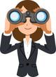 双眼鏡を覗く働く女性 ビジネスウーマン