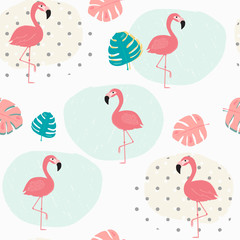 doodle pastel tropical summer leafs and pink flamingo pattern seamless background