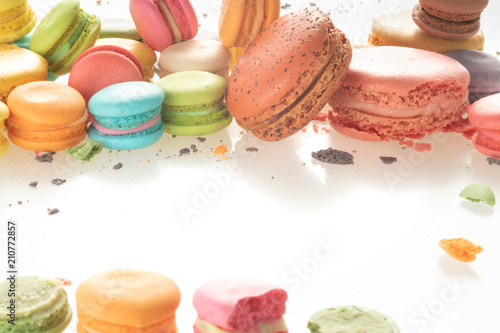 Fotobehang Macarons Colorful french macarons on white background.