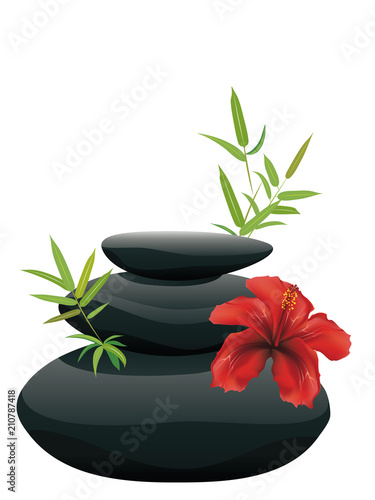 Black pebble with flower - 210787418
