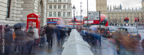 obraz lub plakat busy people in the London city. abstract motion, long exposure.