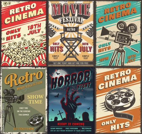Aluminium Vintage Poster Cinema set of posters