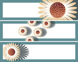 set of bookmarks with daisies in brown and blue