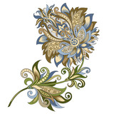 decorative vintage gold and blue flower - 210799263