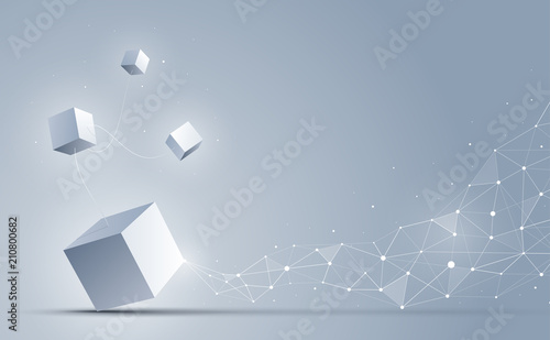 3d Cubes connecting to abstract geometric polygonal dots and lines. Science and technology background. Big data and Internet connection. Abstract background. Vector illustration.