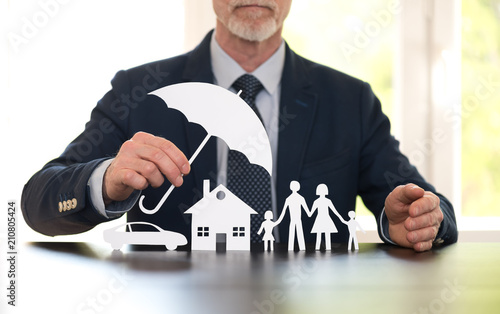 Concept of family, home and car protection