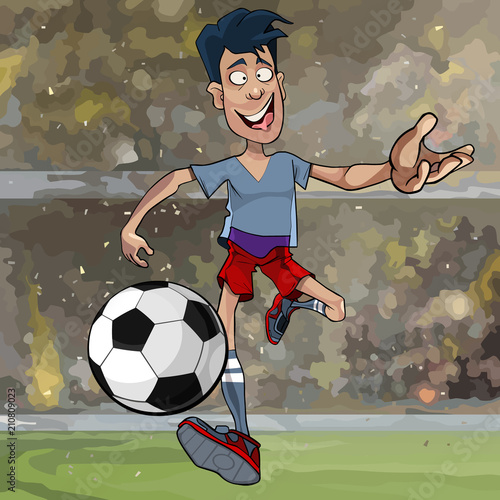 cartoon male soccer player running with a ball across the field - 210809023