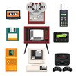 Collection of retro technique, audio music cassette, reel recorder, portable radio, pager, TV, tetris, diskette, computer vector Illustrations on a white background